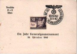 Carte Ein Jahr Generalgouvernement Krakau  3éme Reich 1940 - Briefe U. Dokumente