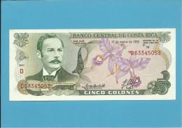 COSTA RICA - 5 COLONES - 15.01.1992 - P 236e - UNC. - Costa Rica