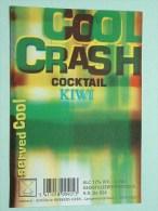 COOL CRASH Cocktail KIWI / Rubbens Zele 12% Vol. - 70 Cl ( +/- 8 X 11,5 Cm. / Details Op Foto ) !! - Labels