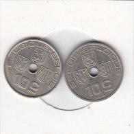 2 X 10 Centimes  Léopold III 1939 FR/FL Et 1939 FL/FR - 02. 10 Centimes
