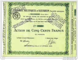 LT1 22/11/07 Haut Rhin Tuileries Mécaniques D´Eguisheim. Au Premier Acheteur - Industrie