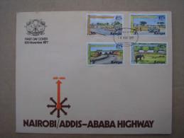 KENYA 1977 Nairobi-Addis Ababa Highway  ILLUSTRATED OFFICIAL  FDC With FULL SET (4 Values). - Kenya (1963-...)