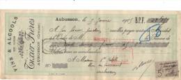 Lettre Change 5/1/ 1905  TIXIER Vins Alcools AUBUSSON Creuse Pour EV - Timbre Fiscal - Lettres De Change