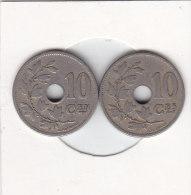 2 X 10 Centimes Léopold II 1904 FR Et 1904 FL - 03. 5 Centimes