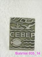Animals: Fish Flounder - Polar Circle / Old Soviet Badge_035_an3675 - Tiere