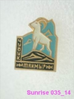 Animals: Chibouk - Mountain-goat - National Park Taymir / Old Soviet Badge_035_an3679 - Animals