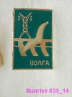 Animals: Seagull - River Volga Hydro Power Plant / Old Soviet Badge_035_an3685 - Animals