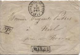 Lette Non Affranchie C.Marchienne-Au-Pont 9/11/1858 Gff Chargé Et PP Encadré V.Niel C.d'arrivée Boom+c.dde Firme PR428 - Postmark Collection
