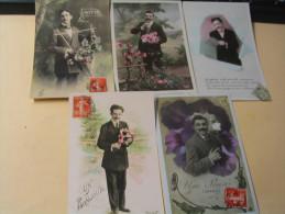 LOT DE 5 CARTES MESSAGES D'HOMMES........ - Cartes Postales