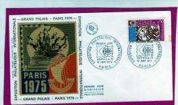 FDC 1ER JOUR  SOIE 19/01/1974 EXPOSITION PHILATELIQUE INTERNATIONNALE PARIS 1975 - FDC