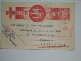 PORTUGAL BILHETE POSTAL CENSOR CARD TO ENGLAND - 1892-1898 : D.Carlos I
