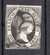 Edifil 6   1851   Usado   Mat  Araña - 1850-68 Kingdom: Isabella II