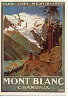 Paris Lyon Méditerranée Mont Blanc Chamonix Excursion à La Mer De Glace Chemins Fer Montenvers Repro N°2915 Dessin HJ - Publicité
