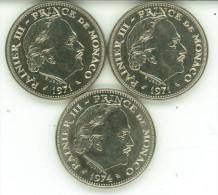 PRINCIPATO DI MONACO 5 FRANCS RANIER III° 3 MONETE KM # 150 1971 X 2-1974 SPL - Monaco