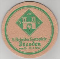 Bierdeckel Arbeiterfestspiele Dresden 1967 Dresdner Brauereien DB DDR VEB - Bierdeckel