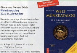 Coins Of The World Welt-Münzkatalog 2014 Schön New 50€ Münzen 20/21.Jahrhundert A-Z Europa Amerika Afrika Asien Oceanien - Bücher, Zeitschriften, Comics