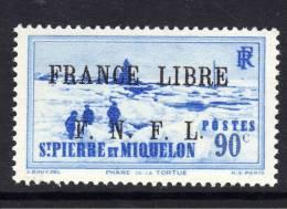 Saint Pierre Et Miquelon N° 262 XX 90 C. Outremer  Surchargé France Libre F.N.F.L. Sans Charnière, TB - Unused Stamps