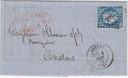 JONZAC (Charente Inférieure)   PC Du GC Sur 25c Ceres . Lettre Du 4 Nov 1872 - 1849-1876: Classic Period