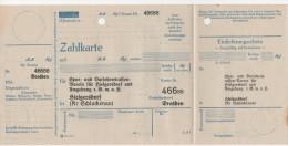 Zahlkarte Hielgersdorf Hilgersdorf Lobendau Severni Lobendava Sparkasse Scheck Stempel Josef Richter Drechslerei - Bank & Versicherung