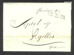 Précurseur (2 Scan) De Chalons Sur Saone à St Gilles (Gard) Du 24/01/1814 + Explication Tarif - 1801-1848: Precursors XIX