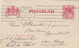 Postblad 5 Cent Gekroonde Leeuwen 1908 - Postal Stationery