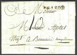 Précurseur (2 Scan) De Lyon - Cachet DE LYON En Noir- à Beaucaire Du 11/04/1788 + Explication Tarif - 1701-1800: Precursors XVIII