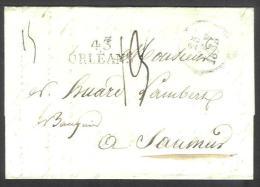 Précurseur (2 Scan) De Orléans à Saumur Du 25/02/1829 +  Détail Tarif - Marcophilie (Lettres)