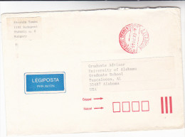 1991 Air Mail HUNGARY COVER Keszpenzzel - Bermentesitve Budepest RED Pmk Airmail Label - Covers & Documents
