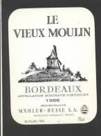 Etiquette De Vin Bordeaux 1983 - Le Vieux Moulin - Mahler Besse à Bordeaux (33) - Thème Moulin à Vent - Windmills