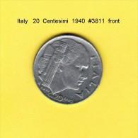 ITALY   20  CENTESIMI  1940  (KM # 75b) - 1861-1946 : Kingdom