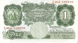 BILLETE DE REINO UNIDO DE 1 POUND DE LOS AÑOS 1948 A 1960   (BANKNOTE) - 1 Pound