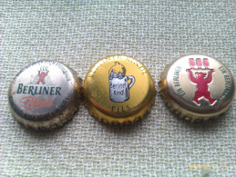 Lote 3 Chapas Kronkorken Caps Tappi Cerveza Berliner. Berlín. Alemania - Birra