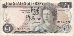 BILLETE DE JERSEY DE 1 POUND DEL AÑO 1976 A 1988  (BANKNOTE) - Jersey