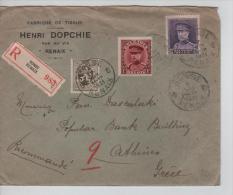 TP 280-317-322 Albert Kepi S/L.recommandée C.Ronse/Renaix 7/7/31 V.Athènes Dos Ambt Italiens + Arrivée Athènes PR433 - Belgium