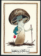 Champignons Mushrooms Cartoon Hiking Cane Pilze Wandern Gehstock R. Sabatier Unused °AK0015 - Fleurs, Plantes & Arbres