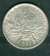 Piece 5 Francs Argent Silver , Année 1960 - Pic0103 - J. 5 Francs
