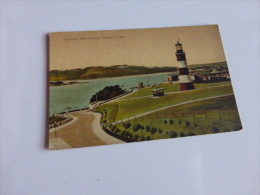 PLYMOUTH HOE SHOWING SMEATON TOWER @ CPA VUE RECTO/VERSO AVEC BORDS - Plymouth