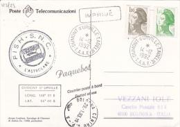 France 1992  Ship Mail  Antarctic Base Postcard - Stamps