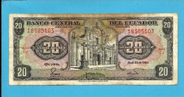 ECUADOR - 20 SUCRES - 20.04.1983 - Pick 115b - Série LJ - Ecuador