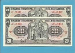 ECUADOR - 2 X 20 SUCRES - 22.11.1988 - Pick 121A - Série LQ - UNC.- FOLLOWED NUMBERS-NOMBRES SUIVANTS-NUMEROS SEGUIDOS - Ecuador