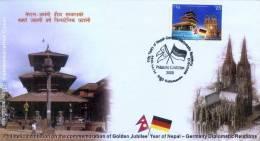 GERMAN-NEPAL GOLDEN JUBILEE PHILATELIC EXHIBITION COMMMEMORATIVE COVER NEPAL 2008 MINT CONDITION - Esposizioni Filateliche