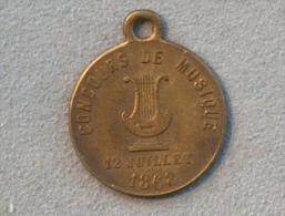 MEDAILLE CONCOURS DE MUSIQUE 12 JUILLET 1868 CONCOURS D ORPHEONS VILLE DE SENLIS OISE - France