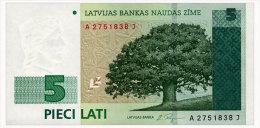LATVIA 5 LATI 1996 Pick 49a Unc - Latvia