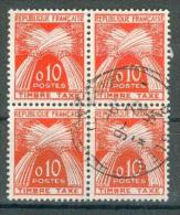 Collection FRANCE ; Taxes ; 1960 ; Y&T N° 91 ; Bloc De 4 ;  Oblitéré - Taxes