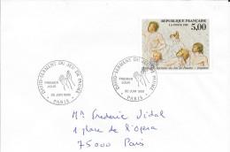 1ER JOUR D'EMISSION FRANCE 1989 DAVID SERMENT DU JEU DE PAUME - Paris  Circulée - Marcophilie (Lettres)