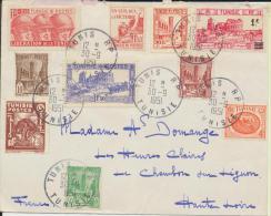 Timbres Lettre Tunisie 1951 - Tunesien (1956-...)