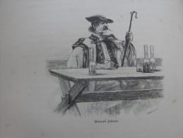 Hungary - Hortobágy - Shepherd Drinking Wine  -Schäfer - Borozó Juhász -  Ca 1891 Print 1.OM7.314 - Estampes & Gravures
