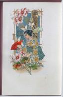 Chromo Illustrateur Art Nouveau Femme Asiatique Geisha A Genoux Sari Eventail Papillon Dorrure Pas Voyagé - Femmes