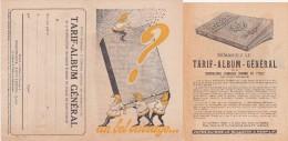 """Document 8.5X13.5  PUBLICITE  """" TARIF ALBUM GENERAL - MANUFACTURE D'ARMES Et CYCLES """" SAINT ETIENNE - Advertising"""