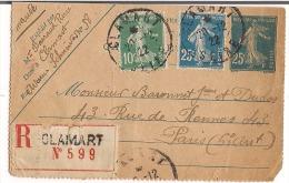 Carte Lettre Recommandée 1922  25c Semeuse + Complément 10c+25c Pour Paris - Entiers Postaux